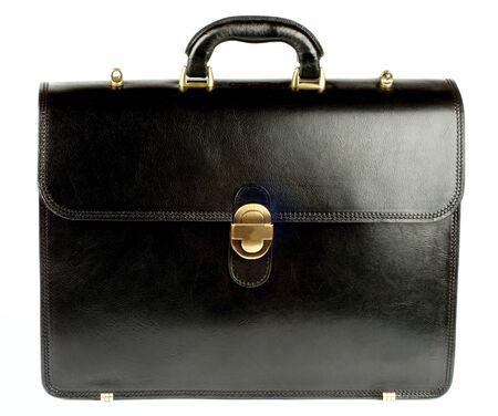 Elegante Aktentasche aus schwarzem Leder mit goldenen Details auf weißem Hintergrund