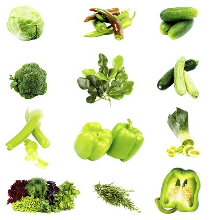 Collection of Green Vegetables and Herbs with Cabbage, Broccoli, Bell Peppers, Greens, Rosemary, Kaffir Lime Leafs, Leek, Cucumbers, Celery and Zucchini isolated on White background