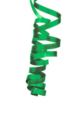 Bright Green Curled Party Streamer Hanging Down isolated on White background