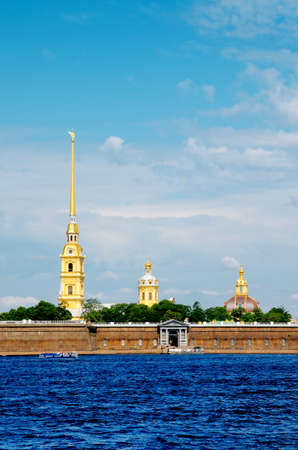 Peter-Pavel's Fortress in Sunny Day. View from Neva River, St. Petersburg, Russia