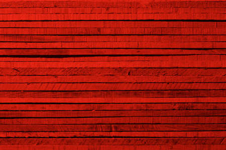 Dark Red Background of Cracked Wooden Plank closeup. Horizon view