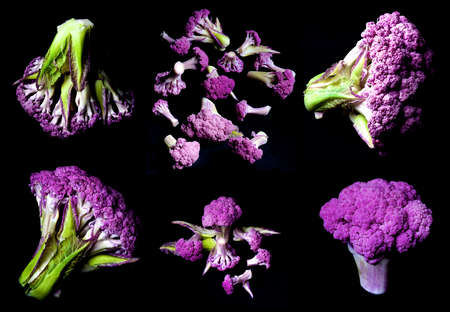 Collection of Perfect Raw Purple Cauliflowers with Buds and Leafs isolated on Black background
