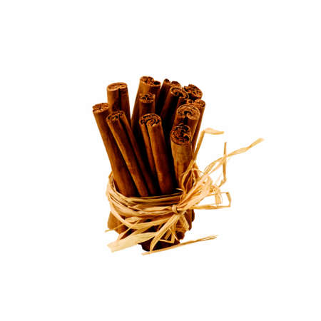 Bunch of Perfect Cinnamon Sticks with Dry Stems Bow isolated in White background