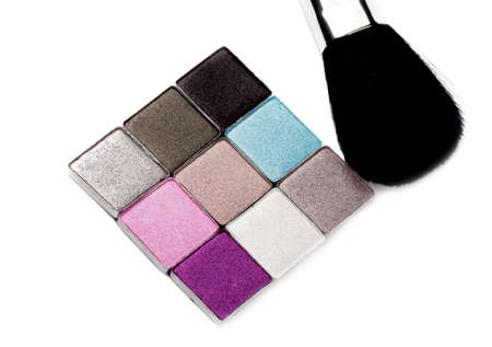 Eyeshadow Palette in Gray and Purple and Brush isolated on White background