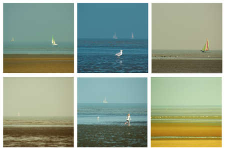 Collection of Seashore Views with Sailboats, Seagulls and Unrecognized Girl. Knokke-Heist, Belgium