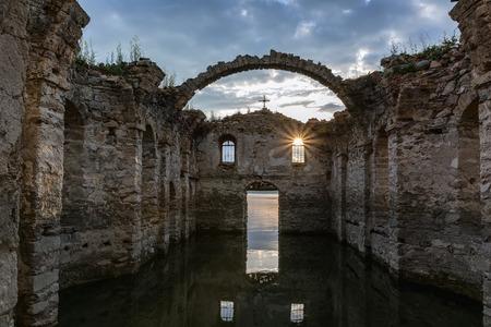 sunken: The sunken church in dam Zhrebchevo, Bulgaria