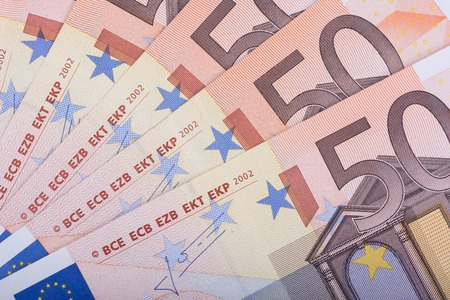 bankroll: Euro money background. Fifty euro banknotes. European Union Currency
