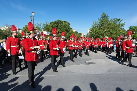 fagot: CORFU, GREECE - APRIL 30, 2016: Philharmonic musicians playing in Corfu Easter holiday celebrations. Corfu has a great tradition in music, with 18 philharmonic bands playing a major role on the islands music education and culture.