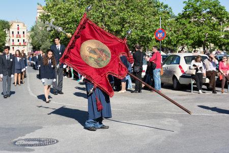 CORFU, GREECE - APRIL 30, 2016: Procession of the holy body of Saint Spyridon, patron saint of Corfu. Epitaph and litany of St. Spyridon.