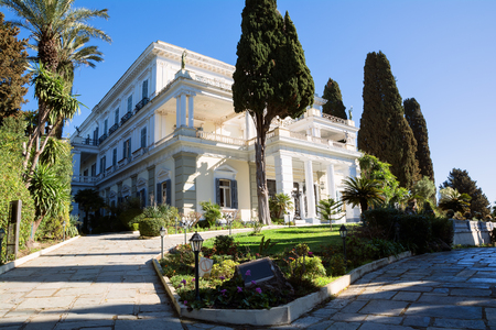 Achilleion palace in Corfu Island, Greece, built by Empress of Austria Elisabeth of Bavaria, also known as Sisi Stock Photo