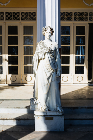 sissy: Statue of a Greek mythical muse in Achilleion palace, Corfu Island, Greece, built by Empress of Austria Elisabeth of Bavaria, also known as Sisi. Stock Photo
