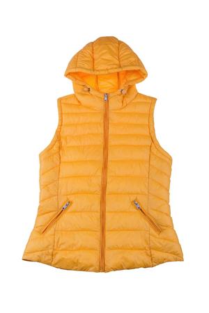 waistcoat: Yellow female vest isolated on white background.