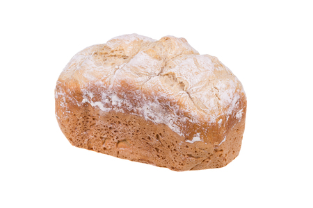 Homemade white flour bread isolated on white background, baked in bread maker.