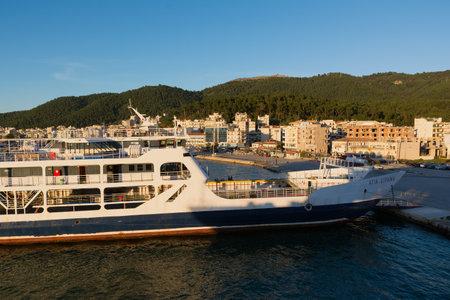 IGOUMENITSA, GREECE - MARCH 2, 2017: Igoumenitsa port in Greece. Ships and Ferries to the island of Corfu. Editorial