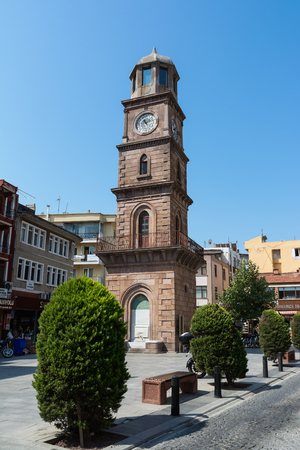 CANAKKALE, TURKEY - AUGUST 14, 2017: The Historical Clock Tower is located at the hearth of Canakkale. It is one of the symbols of Canakkale.