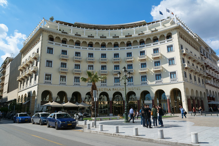 THESSALONIKI, GREECE - MAY 29, 2017: Electra Palace Hotel facade built in Aristotelous main city square, Greece.