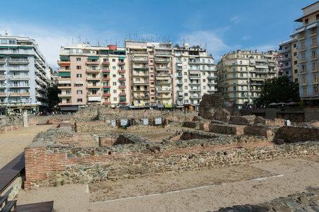 THESSALONIKI , GREECE - MAY 25, 2017: Ruins of ancient Greek Agora in Thessaloniki. Macedonia, Greece, Europe. Later Roman Forum.