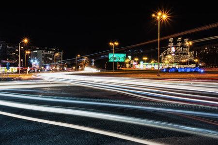 BURGAS, BULGARIA - MARCH 7, 2018: Beautiful night view of Burgas city with traffic light trails, Bulgaria. Editorial