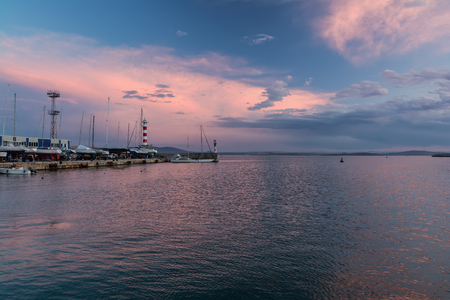 Colorful seascape at Burgas bay, Bulgaria. Black Sea sunset