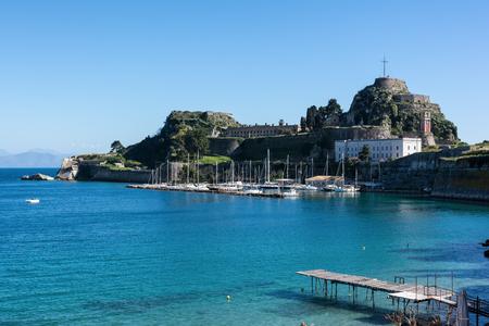 The Old Venetian Fortress in Kerkyra, Corfu island, Greece. View from the sea
