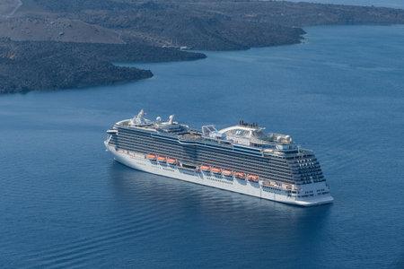 Luxury cruise ship near Santorini island, Greece