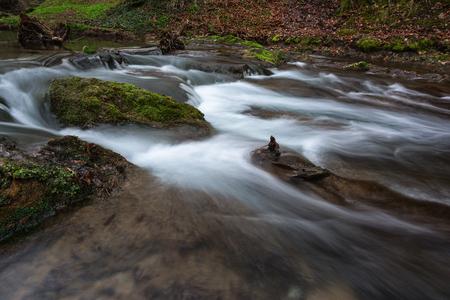 Beautiful waterfall Dokuzak and river in Strandzha Mountain, Bulgaria. Spring landscape Stock Photo
