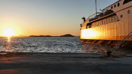 Beautiful golden sunset in the port of Igoumenitsa.