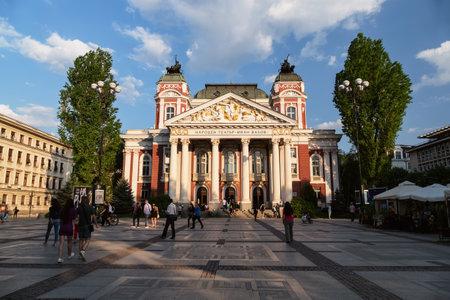 SOFIA, BULGARIA - APRIL 27, 2018: Ivan Vazov National Theatre in the city center of Sofia, Bulgaria. Sofia is the capital and largest city of Bulgaria.