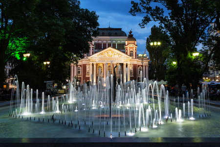 SOFIA, BULGARIA - MAY 5, 2018: Ivan Vazov National Theatre in the city center of Sofia, Bulgaria. Sofia is the capital and largest city of Bulgaria.