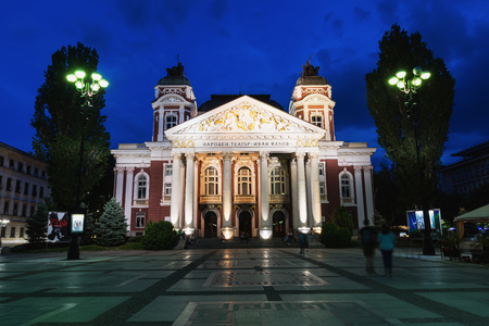 Ivan Vazov National Theatre in the city center of Sofia, Bulgaria. Sofia is the capital and largest city of Bulgaria.