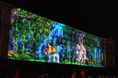 SOFIA, BULGARIA - MAY 9, 2018: Building of Council of Ministers in Sofia, Bulgaria. 3D Projection Mapping for the Day of Europe. Sajtókép