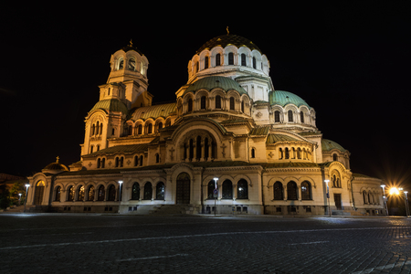Saint Alexander Nevsky Cathedral in Sofia, Bulgaria, at night.