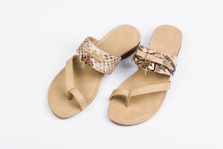 Womens sandals on white background. Summer fashion.