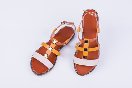 Fashionable womens sandals on white background. Summer fashion.