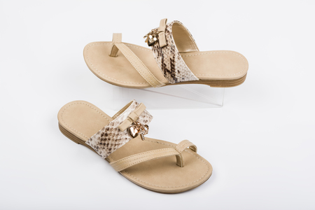Womens sandals on white background. Summer fashion.