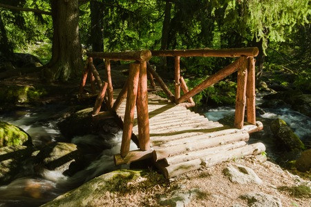 Vitosha Natural Park near Sofia, Bulgaria. The Golden Bridges area. Water stream and wooden bridge landscape. Stock fotó
