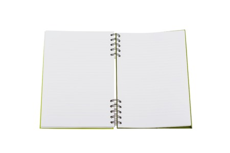 Opened notebook isolated on white backround with clipping path. Mockup. Stock Photo