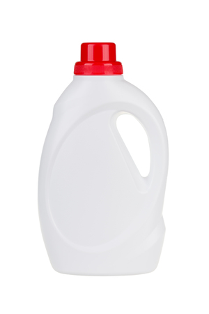White plastic liquid detergent bottle isolated on white. With clipping path.