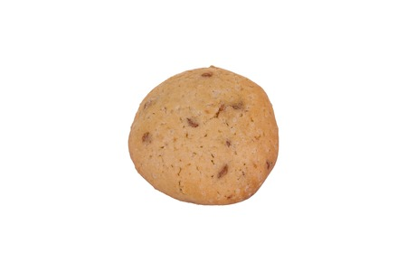 Homemade chocolate chip cookie isolated on white background. Sweet biscuit.