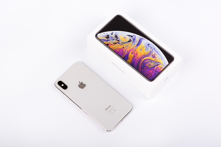 BURGAS, BULGARIA - NOVEMBER 8, 2018: Apple iPhone Xs Max Silver on white background, back view.