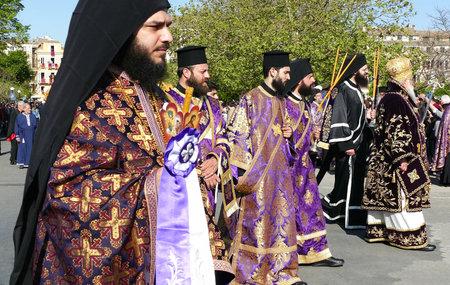 CORFU, GREECE - APRIL 7, 2018: Procession with the relics of the patron saint of Corfu, Saint Spyridon. Epitaph and litany of St. Spyridon.