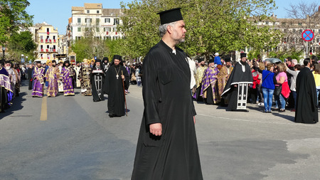 CORFU, GREECE - APRIL 7, 2018: Procession with the relics of the patron saint of Corfu, Saint Spyridon. Epitaph and litany of St. Spyridon.