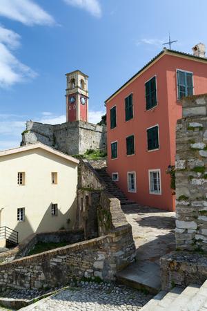 The Old Venetian Fortress in Kerkyra city, Corfu island, Greece. The Clock tower. Stock Photo