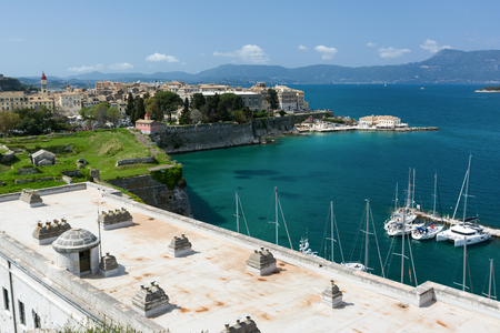 Old Corfu town cityscape, Greece. View to Kerkyra town from the Old Fortress.