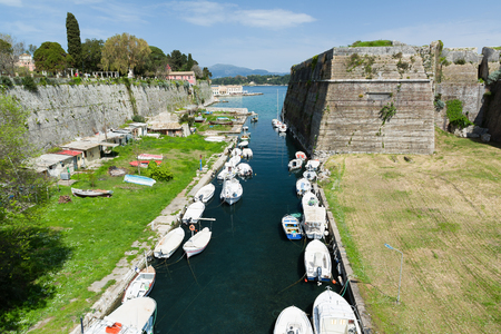 The old Fortress, Corfu town, Greece. The Contrafossa canal that connecting the Gulf of Kerkyra with the Bay of Garitsa. Stock Photo