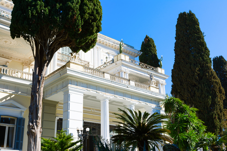 Achilleion palace in Corfu Island, Greece, built by Empress of Austria Elisabeth of Bavaria, also known as Sisi. Editorial