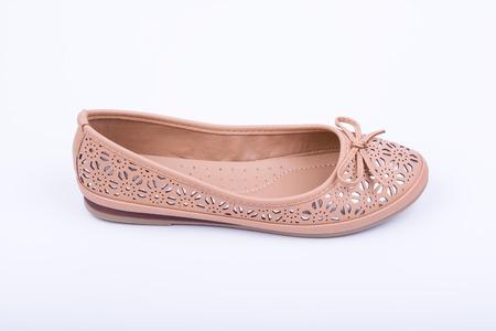 Fashionable female flat shoe on white background Stock Photo