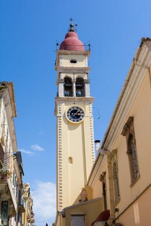 Bell Tower of the Saint Spyridon Church, Kerkyra, Corfu island, Greece.