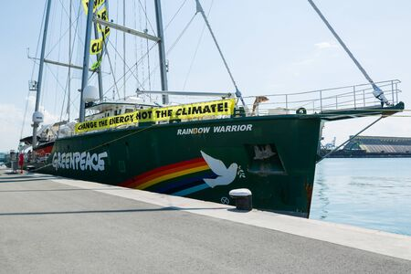 BURGAS, BULGARIA - JUNE 7, 2019: Greenpeace Rainbow Warrior sailing ship at the Port of Burgas, Bulgaria. Greenpeace is a non-governmental environmental organization with offices in over 39 countries.