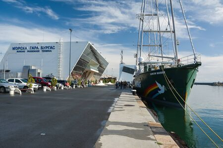 BURGAS, BULGARIA - JUNE 9, 2019: Greenpeace Rainbow Warrior sailing ship at the Port of Burgas, Bulgaria. Greenpeace is a non-governmental environmental organization with offices in over 39 countries.